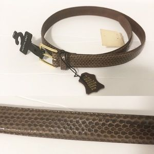 Vintage Genuine Snakeskin Brass Buckle Belt
